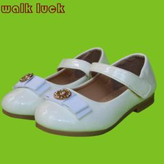 S208 Girls Leather Shoes Kids Shoes Girls Princess Dress Sandals Shoes Flat Baby Girl Shoes white 26