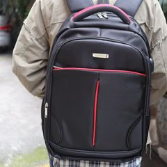PN-1317 Men Women 18 Inch Canvas Backpacks School Bags Large Capacity Backpack Fashion Men Backpack black&red one size