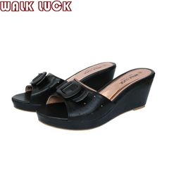 WH091 Women's High Heel Slipper Shoes Wedges Slippers Ladies Shoe black 42