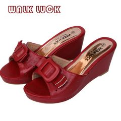 WH091 Women's High Heel Slipper Shoes Wedges Slippers Ladies Shoe red 37