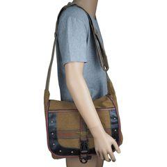 FBD-02 Men's Backpack New Nylon Canvas Shoulder Bag Leisure Sports Tourism  Messenger & Shoulder Bag Brown one size