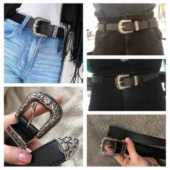 【Valentine gifts】Belt Women Metal  Buckle Waist Belt Vintage Western Carved Black