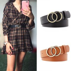 【 Valentine gifts】Double Ring Belt Fashion Buckle For Ladies Leisure Dress Jeans Wild Waistband Black