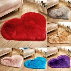 【7th Anniversary】Heart-shaped Solid Wool Imitation Rugs Non Slip Living Room  Carpet Bedroom Mats White 30*40 cm