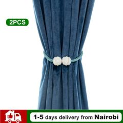 【Easter】2 PCS  Curtain  Buckle Tether Curtain Home Decoration Pearl Magnetic Buckle Rice wine 1 pair pearl magnetic buckle