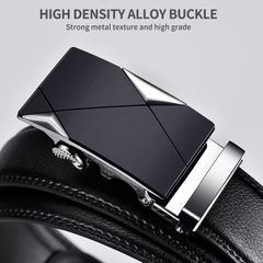 Men Belt Male Genuine Leather Belt Strap Belts For Men Top Quality Automatic Buckle black Belts silver one size