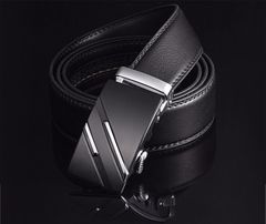 Famous Brand Belt Men Top Quality Genuine Luxury Leather Belts for Men,Strap Male Metal Automatic silver one size