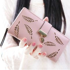 Women Wallets PU Leather Purse Female Long Wallet Gold Hollow Leaves Pouch Handbag  Coin Purse pink one size
