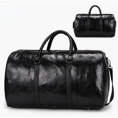 ZUOMANNI Large Capacity Luggage Bag PU Leather Bags Duffle & Gym Bags black one size