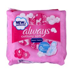 Always Sanitary Napkin  New Improved Cottony Soft Maxi Thick Large Wings 9 pads as picture