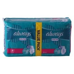 Always Sanitary Napkin Ultra Thin Extra Long Value Pack 16 pads as picture
