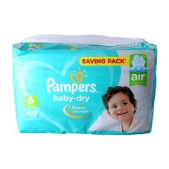 Pampers 48Pcs  Baby-dry Size6  13+kg Extra Large Baby Diapers as picture size 6