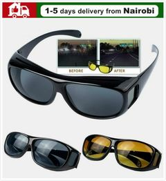 Driving Glasses HD Polarized Day And Night Vision Wrap Around Glasses Anti Glare Yellow Lens black common
