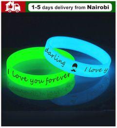 2PCS/SET  Led Silicone Rubber Bracelet Cuff Wristband Glow Flash Bangle Party  Wedding Decor 1 blue and 1 green common