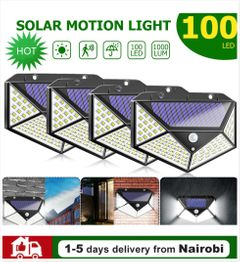 100LED Solar Power Wall Lights Outdoor Waterproof Energy Saving Yard Path  Garden Security Lamp black 180*120*80mm 10W