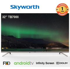 SKYWORTH 32TB7000 Android Smart TV Frameless LED Television silver 32 inch