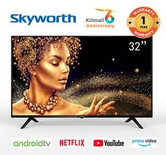 (Anniversary Special Offer)Skyworth 32 inch Smart Android TV 32E10 Television black 32 inch