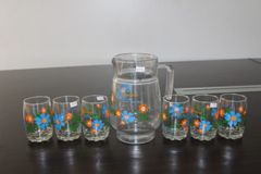 Urhome 7pcs High Quality Glass Kettle  Cups(J-8-CUP6 JUG SET) as the picture 1.4L+260ML