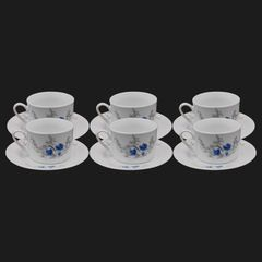 Nice One  12PCS Dinner Set 6Cups+6 Plates(KH-BD-1  CUP AND SAUCERT SET) white 220ml