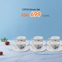 Nice One  12PCS Dinner Set 6Cups+6 Saucers(KH-BD-1  CUP AND SAUCERT SET) white 220ml