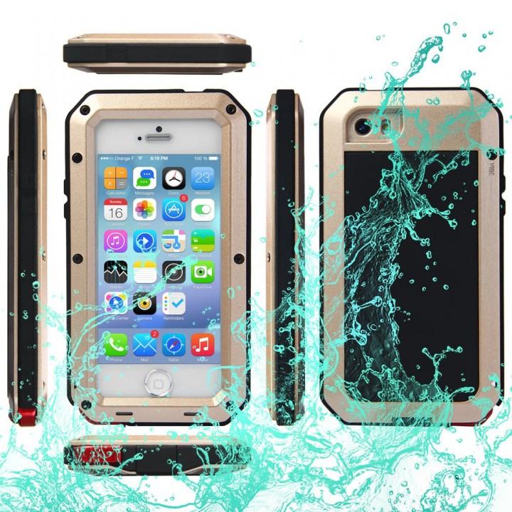 Waterproof Shockproof Dustproof Gorilla Glass Aluminum Metal Case for iPhone 5S 5C 5 SE Golden One Size