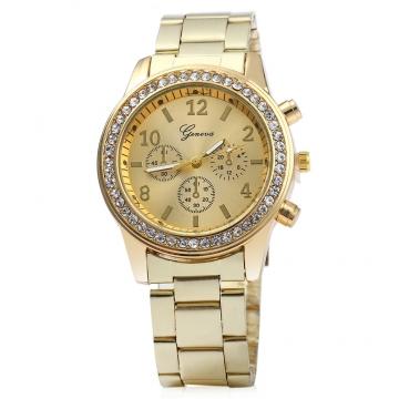 Men Women Rhinestone Quartz Watch Steel Band Decorative Three Sub-dials golden one size