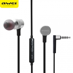 AWEI ES - 20TY 3.5MM Plug Foldable Wired Stereo HiFi Music Earphones Headphones gray
