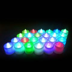 2 Pcs Colorful LED Tea Light Candles for Wedding Table Centerpieces Party Lighting and Home Decor colorful 4.5X3.5cm