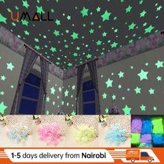 100pcs 3D Home Decor Kids Bedroom Fluorescent Glow In The Dark Stars Luminous Wall Stickers Stars Mixed colors(100pcs/bag) 3cm(100pcs/bag)