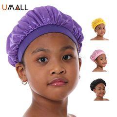 Baby kids girl boy satin head wraps Caps bonnie head cover bonnet hair health 27cm Purple 13cm/27cm