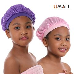 Baby kids girl boy satin head wraps Caps bonnie head cover bonnet hair health 27cm Pink 13cm/27cm