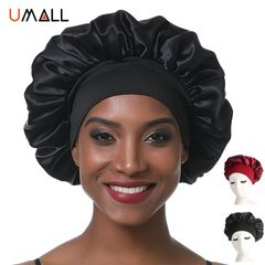 Satin Bonnet Sleeping Cap Headscarf Hat Hair Wrap Silk Caps For Women Girls Night Sleep Hats Black