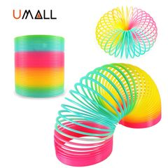 1pcs Rainbow Circle Funny Toys Early Development Educational Folding Spring Children's Baby Toys A-as picture
