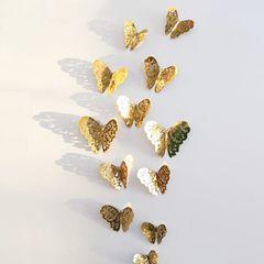 Christmas gifts 12 Pcs/Set 3D Butterflies Wall Stickers For Fridge Door Sticker Home Wedding Decor gold as picture