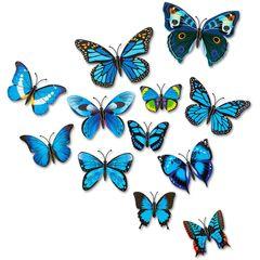 12pcs PVC 3d Butterfly wall decor cute Butterflies wall stickers art Decals home Blue 12pcs/bag
