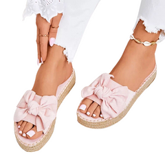 2021 New Year gift NEW HOT SALE Beach Slippers Bow Flat Sides Linen Summer Espadrille Shoes Woman pink 39