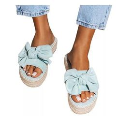 2021 High quality NEW HOT SALE Beach Slippers Bow Flat Sides Linen Summer Espadrille Shoes Woman BLUE 4 1