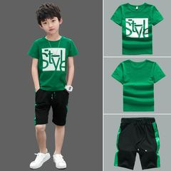 Boys Clothes Set Short Sleeve T-Shirt +Pants Summer Children Clothing Outfits Teen 5~12 Years green GREEN 160cm/11-12yrs