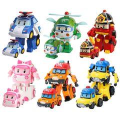 2020 Christmas Gift Set of 6 Pcs Poli Car Kids Robot Toy Transform Vehicle Cartoon Anime Action Toys