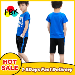 Boys Clothes Set Short Sleeve T-Shirt +Pants Summer Children Clothing Outfits Teen 5~12 Years green blue 120cm/4-5yrs