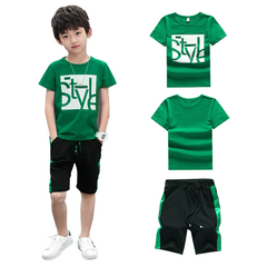 2020 Christmas Gift Boys Clothes Set Short Sleeve T-Shirt  Pants Summer Children Clothing Outfits GREEN 160cm/11-12yrs