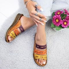 HOT SALE! Sandals   Ladies Open Toe Casual Shoes Platform Wedge Slides Beach Shoes brown brown 39