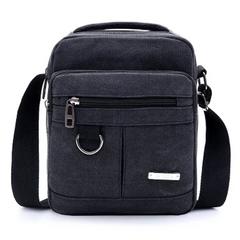 2021 New Year gift Fashion Men Canvas Zipper Shoulder Bag High Quality Messenger Bags Handbag Black normal