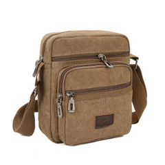 2021 New Year gift Men Casual Shoulder Bags Good Qualtiy Outdoor Bags Retro Zipper Shoulder Bag Brown normal