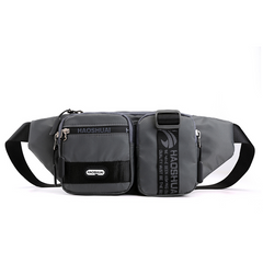 2021 High quality Men's Nylon Bags On a Belt Kidney Fanny Pack Casual Travel Autumn New Men Pouch Gray one size