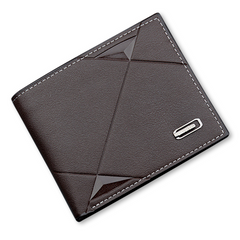 2021 New Year gift Men Short Bifold Faux Leather Masculina Billetera Credit ID Card Holder Wallet Deep coffee color normal