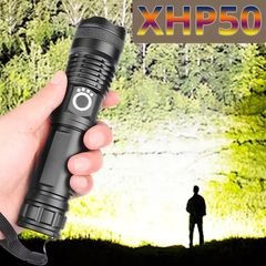 Hot sale most powerful flashlight 5 Modes usb Zoom led torch xhp50 26650 battery Best Camping black usb+26650battery