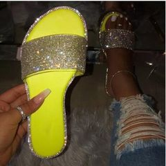 Hot sale Women's Flat Slippers Sandals Rhinestones Candy-colored Sole Stripes Sexy Party Woman Shoes yellow 38