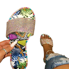 2021 High quality Hot sale Women's Flat Slippers Sandals Rhinestones Candy-colored Sole Sexy Party multi 39