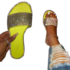 2021 High quality Hot sale Women's Flat Slippers Sandals Rhinestones Candy-colored Sole Sexy Party yellow 39